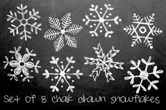 Tafel handgezeichnete Schneeflocken Clipart, Photoshop Bürsten und Briefmarken. Download. Persönliche und begrenzte kommerzielle Nutzung