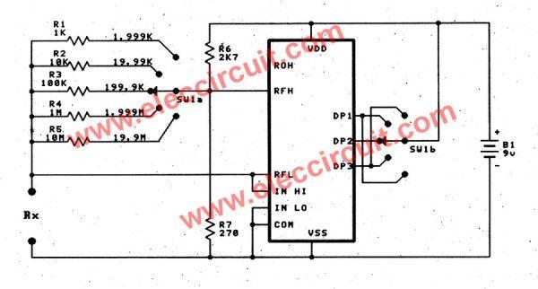 Digital multimeter circuit using ICL7107   og to digital ... on voltmeter block diagram, voltmeter switch diagram, digital multimeter circuit diagram, voltmeter parts diagram, simple led circuit diagram, voltmeter circuit diagram,