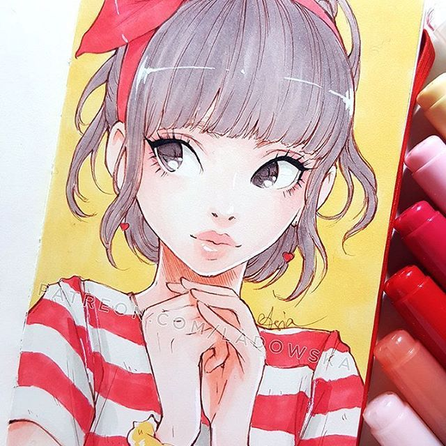 Valentines Day soon  Feeling the mood now, when it comes to the day I will probably be depressed   _  For numbers of markers, videos and linearts to colour you can support me on Patreon ♡ patreon.com/Ladowska ♡ Thank you!