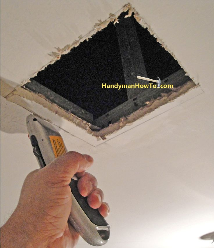 How to Repair Drywall Ceiling Water Damage step by step instructions. Square up the ceiling hole rough cut and mount a wood brace for the repair panel.