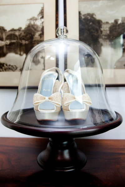 Sparkling Christian Louboutin wedding shoes, served up in fabulous glassware! #ChristianLouboutin