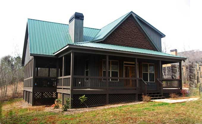 Small 2 story 3 bedroom cabin with wraparound porch for 2 bedroom lake house plans