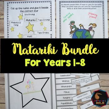 Matariki Bundle for New Zealand Classrooms. Great tool for Bicultural New Zealand.Contains 3 resources (each of these resources is also available separately by clicking on the GREEN writing): Matariki resource pack  50 pages of resources for children from years 0-8 including reading comprehensions, art activities, games and moreMatariki Challenge cards for years 5-814 activities for independent research work for your senior primary students.