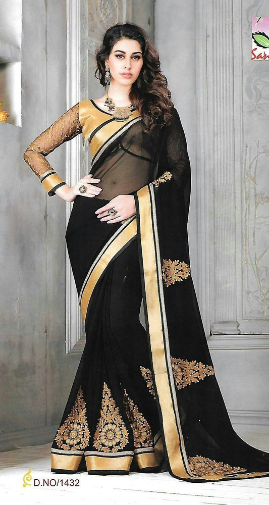 Designer/Party wear/Black/Sarees/With Unstiched Blouse