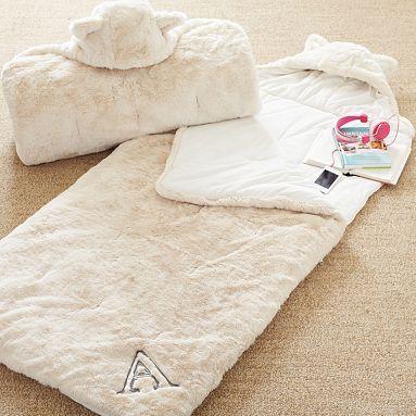 fur sleeping bag - ivory
