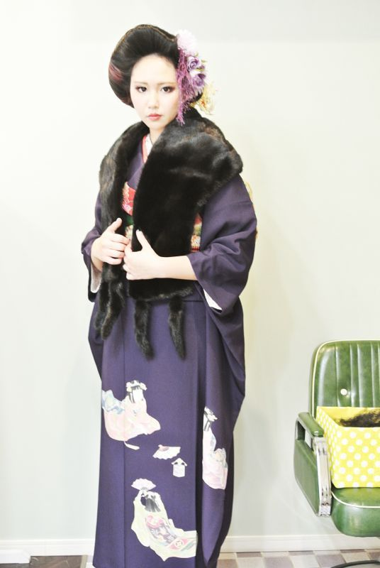 coming of age ceremony hair design and kimono portrait