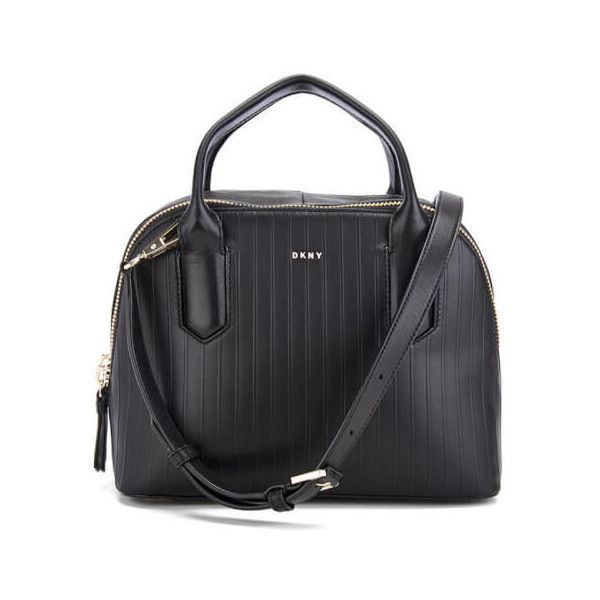 DKNY Women's Gansevoort Pinstripe Small Satchel - Black (£285) ❤ liked on Polyvore featuring bags, handbags, dkny purses, satchel purses, dkny bags, satchel handbags and handbag satchel