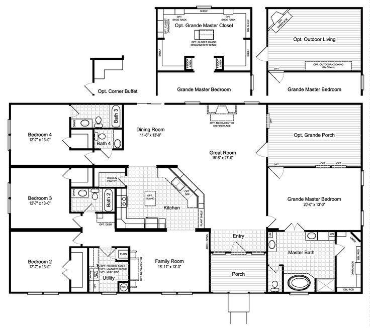 The Hacienda III VRWD76D3 Floor Plan with Opt. Grande Porch, Opt. Outdoor Living or Opt. Grande Master Closet