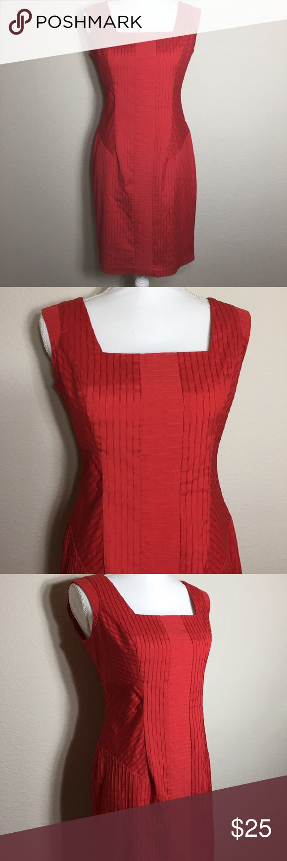 """Nordstrom's Andrew Marc Dress Size small. Red. Cotton, spandex and polyester. Fully lined. Sleeveless. Square neck front and back. Back zip. Interesting stitched pattern all over this dress (see last photo). Bust measures 34"""". Length is 36"""". Hips measure 39"""". Excellent condition. (2/27 33) Andrew Marc Dresses"""
