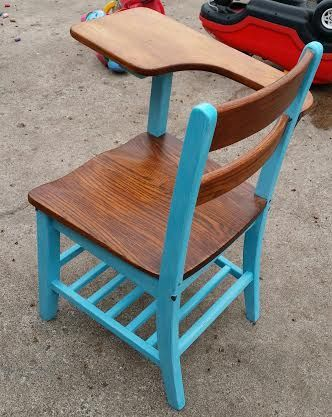 """This vintage school desk is stained with Minwax """"gunstock"""" but had to sand a bit to refinish again with a gel stain because of damage to the finish. I re-coated it with Minwax water based spar polycrylic semi-gloss Now it is safe. The paint color is a mix of some left over colors I had."""