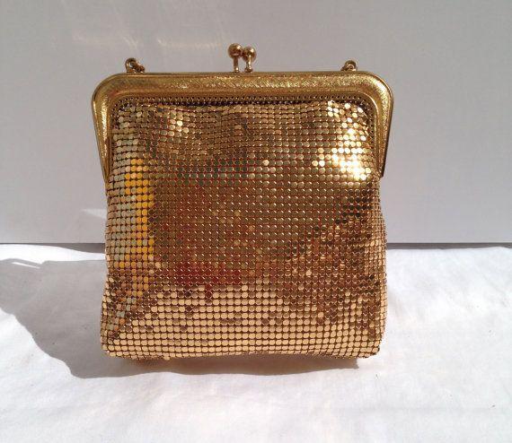 Vintage Oroton 1960s gold micromesh clutch / handbag/ Glomesh / Whiting & Davis /