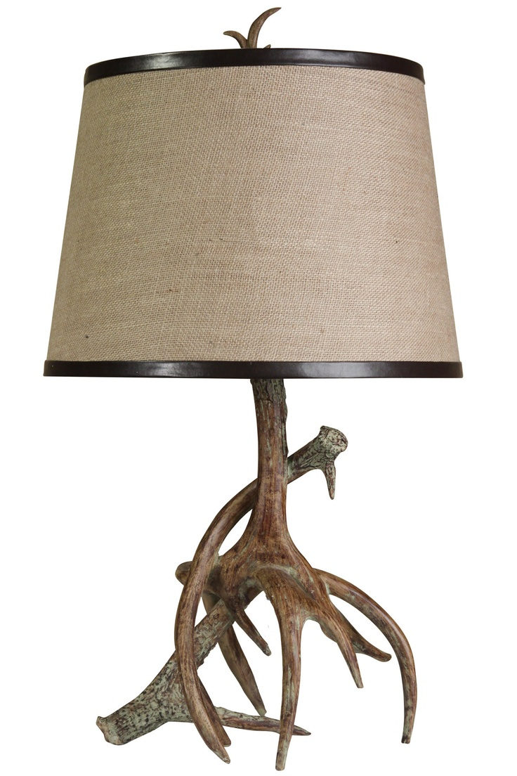 Deer Of Green Lamp : Style craft antler table lamp this just screams
