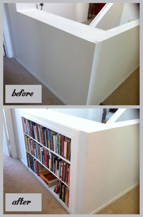 Adding book shelves between the studs, step by step. Great idea for the landing above the stairs.