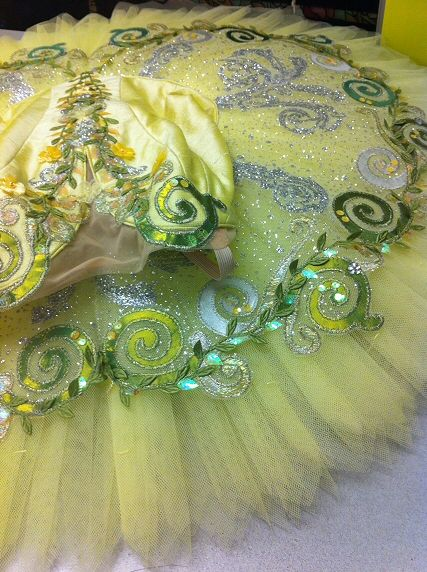 fully decorated lemon silver and green tutu