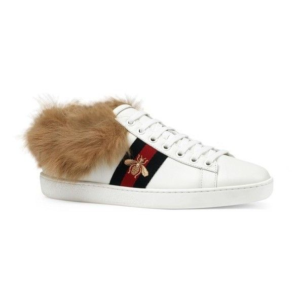 Women's Gucci New Ace Genuine Shearling Lining Sneaker ($830) ❤ liked on Polyvore featuring shoes, sneakers, white, lacing sneakers, shearling lined sneakers, white trainers, lace up shoes and white sneakers