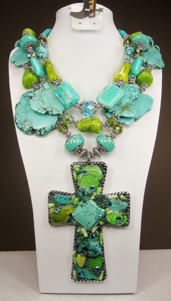 TRIPLE STRAND TURQUOISE / Green Howlite and Coral / Cross Pendant Cowgirl Western Necklace