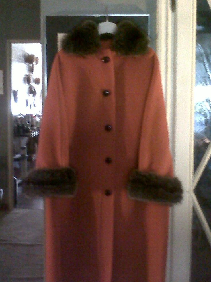 Beautiful orange wooden coat with silver fox collar and wrists