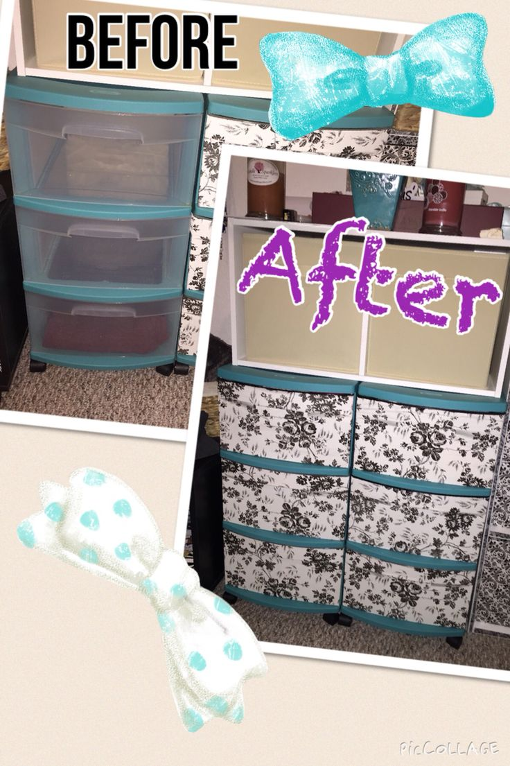 Upcycle old plastic drawers! Some shelf liner from the dollar store and modge podge