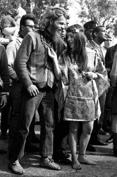 Authentic 'Summer of Love' hippies in the Haight, San Francisco.  (Good lord, that woman is barefoot!  That's some questionable behavior.)