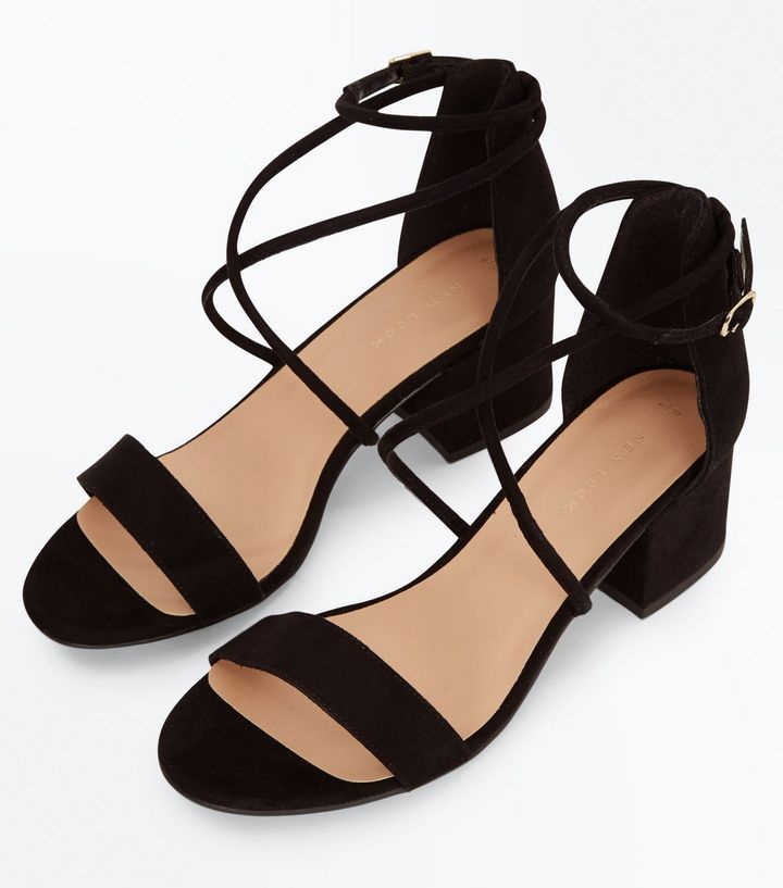 59a6a6d1776 Black Suedette Strappy Low Block Heel Sandals | New Look | Sandals ...