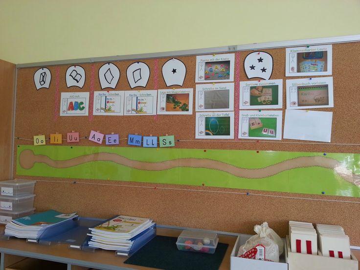 So sieht unser Buchstabenweg momentan aus.   Ich arbeite mit den Buchstabenplänen von Karibu, daher hängen oben die einzelnen Blüten .   U...