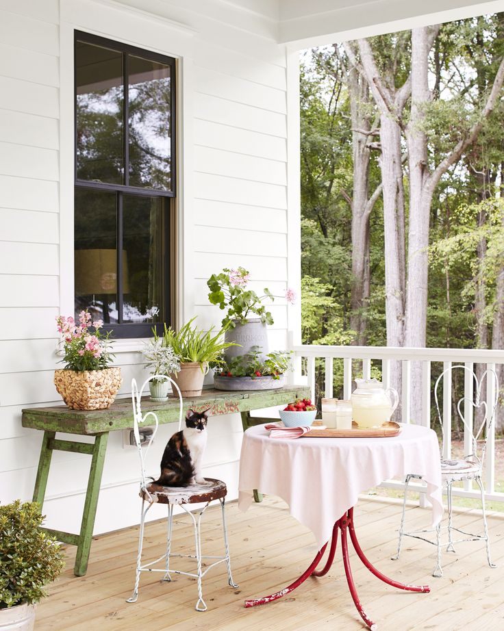 Outdoor FurnishingsLauren says that the best source for finding outdoor furnishings is going-out-of-business sales. The family's red bistro table and weathered white chairs, for example, came from an old ice-cream shop.