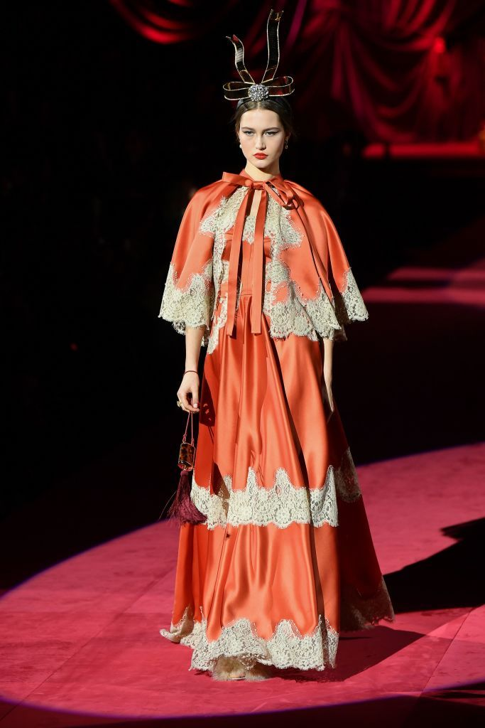 cd0fd826eec4 A model presents a creation during the Dolce & Gabbana women's Fall/Winter  2019