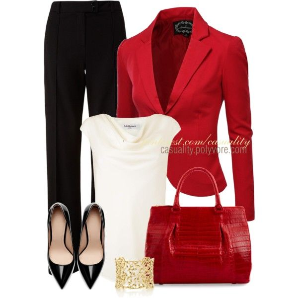 Work Outfit: Red Blazers, Black White, Workout Outfits, Red Jackets, Blazers Business, Casual Outfits, Work Outfits, Business Casual, Bright Blazers