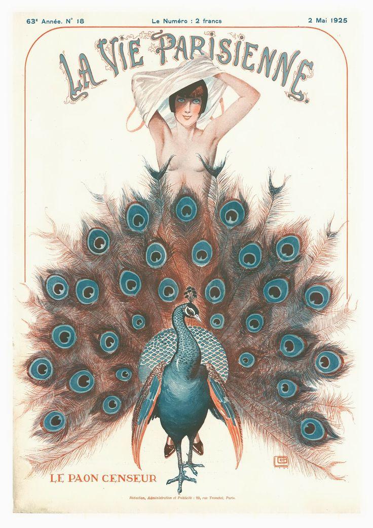 Art Print La Vie Parisienne Peacock 1925 8 X 10