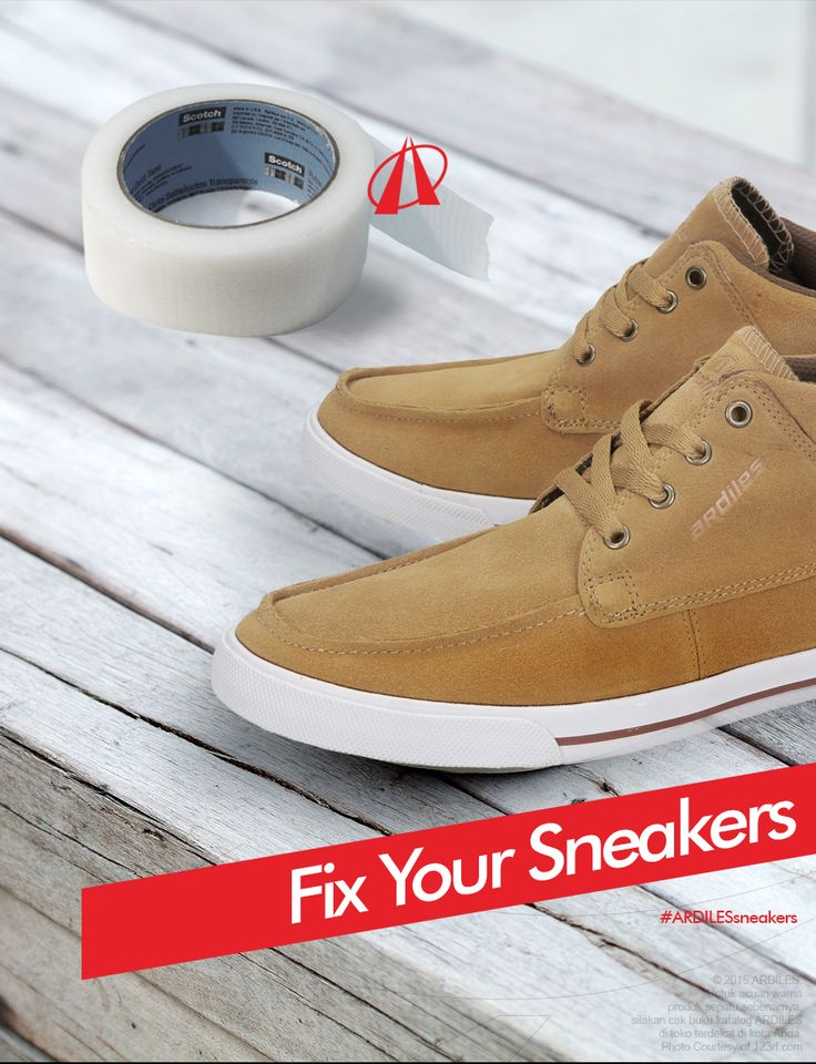 Ardiles Sneakers Lovers, jika sneakers-mu rusak, robek/berlubang, 1.Siapkan plester kain pembalut luka. 2.Siapkan lakban, gunting, kertas koran, lem superglue. 3.Alasi dengan kertas koran agar tidak mengotori lantai. 4.Bersihkan sepatu terutama bagian yang akan diperbaiki. 5.Lakban bagian dalam sneakers yang berlubang. 6.Tempelkan plester pada lubang bagian luar sneakers. 7.Oles lem di seluruh permukaan plester.  Jika tidak tertolong, belilah sneakers yang baru di www.ardilesmetro.com