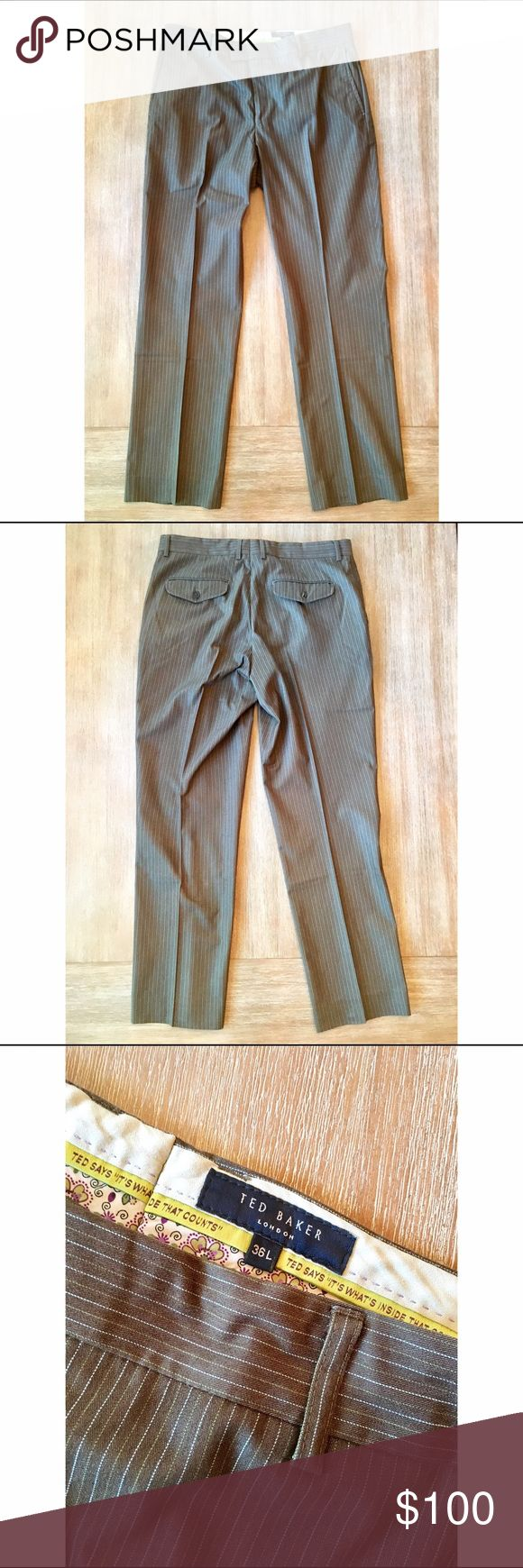 Brown Pinstriped Ted Baker Wool Pant Brown trousers feature light blue and olive green pinstripes. Beautiful fall pant. Like new. Ted Baker Pants Dress