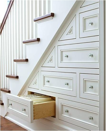 Drawers Under the Stairs. Great storage idea!