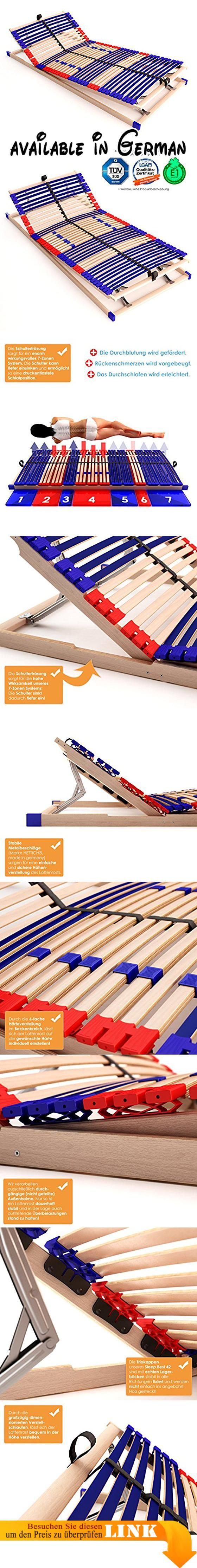 B012CWY11C : stabiler Lattenrahmen 100% BUCHE - Kopf- und Fußteil verstellbar - SCHULTERFRÄSUNG 7 Zonen 42 Federleisten Härte-Regulierung Mittelgurt SCHLUMMERPARADIES - SLEEP BEST 42 VARIO PLUS unmontiert ( 90x200 cm ). Lattenrost / Federholzrahmen - SLEEP BEST 42 VARIO PLUS - Kopfteil und Fußteil verstellbar - für 90x200cm Betten exaktes Maß: 89cm x 196cm x 75cm (BxLxH) - geprüft bis 140Kg Belastung belastbar bis 200Kg mit Matratze. 7-Zonen 42 Federholzleisten