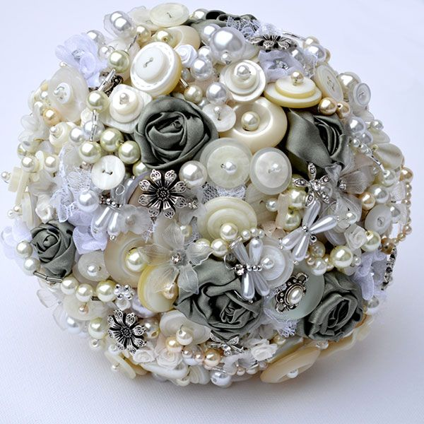 What do you think?  Pearls and button bouquet