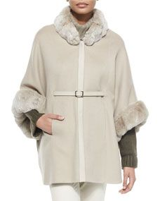 Loro Piana Audrey Fur-Trim Cape, Gold Pepper