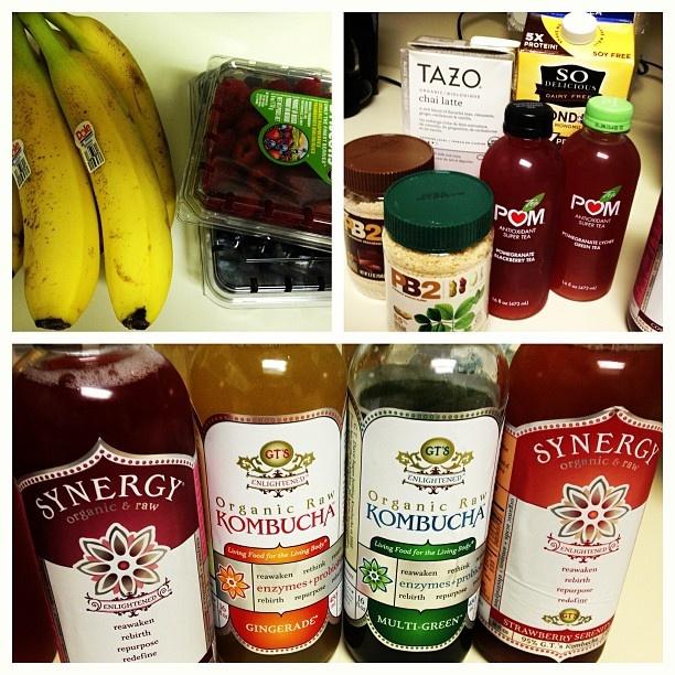 Got my #vegan goodies. #kombucha #synergy #organic #raw #health #pb2 #pom #sodelicious #tazo all this plus some great #amysvegan meals, #tempah, #pita, #hummus, and more!