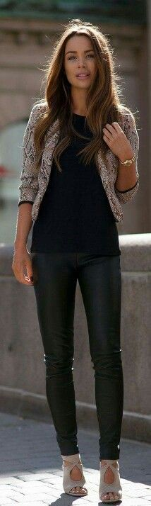 black jeans + nude pumps + black tee + blazer / jacket