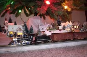 A train under the Christmas tree.