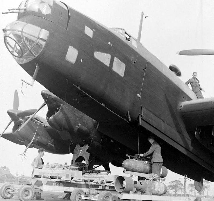 Preparation for combat mission British bomber Handley Page Halifax