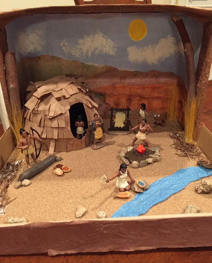 California Desert Indians Shoebox Diorama Materials-Watercolor and crayon (background), sand paper (ground), brown paper bags and cardboard (shelter), tree branches and pine needle, pebbles, tissue paper (stream), peanuts (little bowls), brown rice, nutmeg and cloves (acorns, ground Manzanita), and Toob Indian Figures from Michaels,