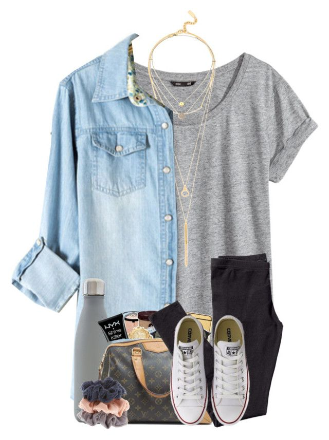 """Happy Wednesday"" by cassieq6929 ❤ liked on Polyvore featuring H&M, BaubleBar, S'well, Michael Kors and Converse"