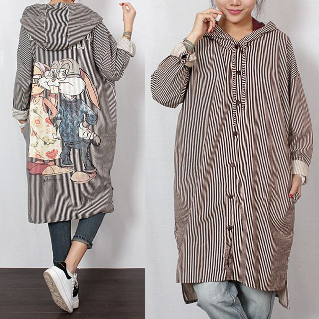 2016 women's spring new arrival plus size after rabbit with a hood stripe casual loose shirt US $52.60 /piece To Buy Or See Another Product Click On This Link  http://goo.gl/IdJFhm