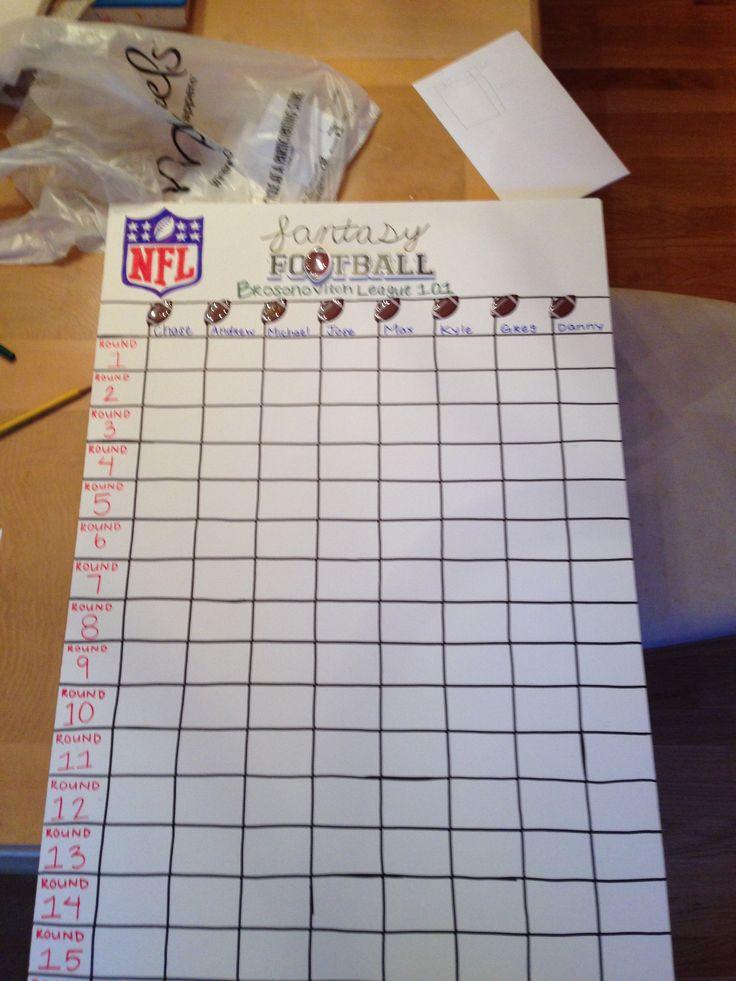 Fantasy football draft board I made for my friends' fantasy league