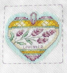Lavender heart, cross stitch