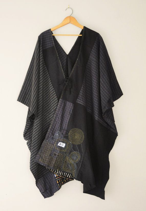 CUSTOM Kimono Wrap with Original Embroidery/Petite to Plus Size/Kantha Tunic/Upcycled Clothing
