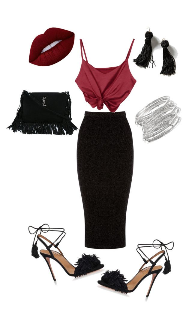 """""""Untitled #66"""" by sandie-mefaddi on Polyvore featuring Warehouse, Aquazzura, Vanessa Mooney, Lime Crime, Yves Saint Laurent and Kate Spade"""