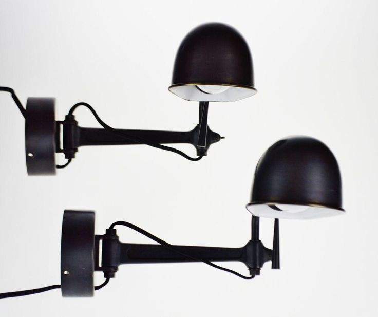 Ralph Lauren Swing Arm Wall Sconce Reading Lights - A Pair on Chairish.com
