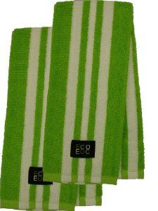 Cotton Kitchen Towel (Lime Green with White Rugby Stripe, 2-Pack) - Visit to see more options