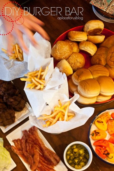 DIY Burger Bar ~ Burgers and Varieties of Toppings To Create Any Kind of Burger, Fries, Onion Rings