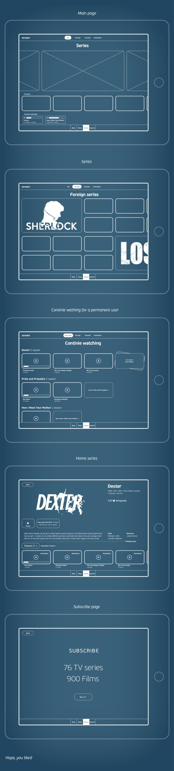 Series app wireframe by Vladimir Vorobyev, via Behance